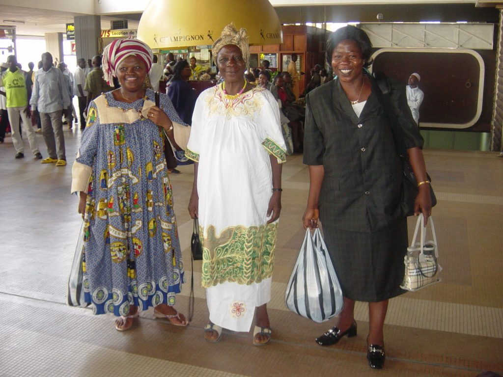 Chapter4 My sisters Hannah (left) and Mary (right) seeing me off at the Douala airport. My mother in the middle