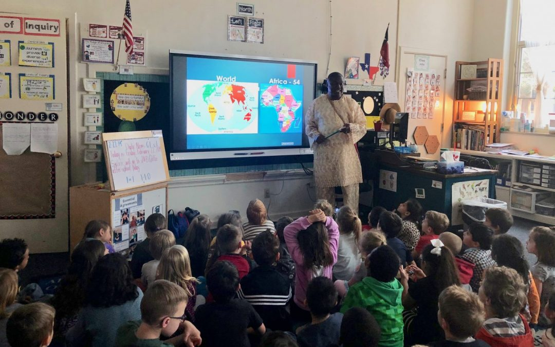 Sixtus meets and speaks with students at Roscoe Wilson Elementary School